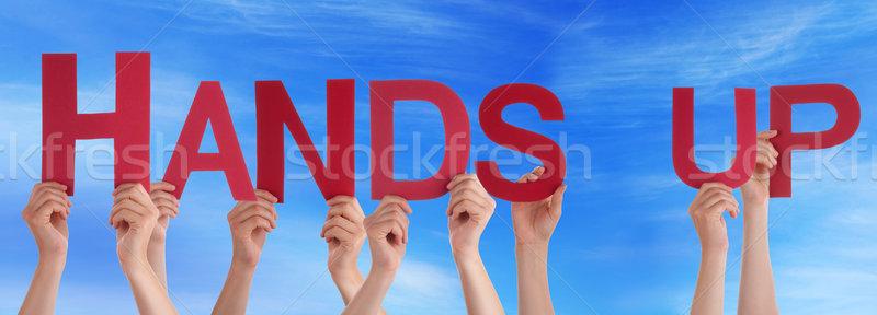 Mensen Rood rechtdoor woord handen omhoog Stockfoto © Nelosa