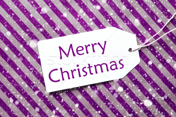 Label On Purple Wrapping Paper, Snowflakes, Text Merry Christmas Stock photo © Nelosa