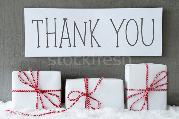 Fehér ajándék hó szöveg köszönjük három Stock fotó © Nelosa