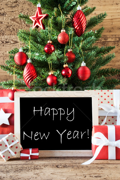 Colorful Christmas Tree With Text Happy New Year Stock photo © Nelosa