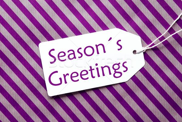 Címke lila csomagolópapír szöveg évszakok üdvözlet Stock fotó © Nelosa