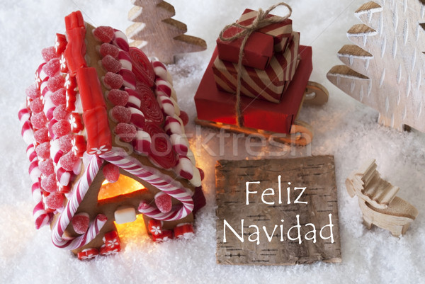 Gingerbread House, Sled, Snow, Feliz Navidad Means Merry Christmas Stock photo © Nelosa
