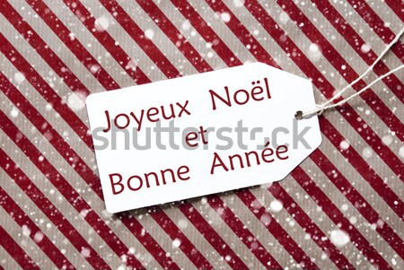 Label On Red Wrapping Paper And Copy Space, Snowflakes Stock photo © Nelosa