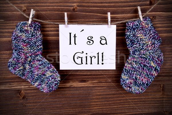 Rosa etiqueta bebé calcetines nina etiqueta Foto stock © Nelosa