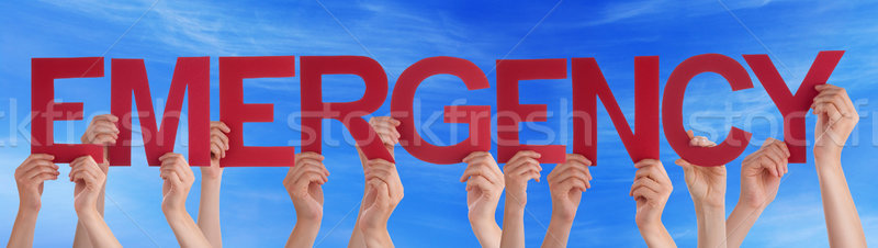 Many People Hands Holding Red Straight Word Emergency Blue Sky Stock photo © Nelosa