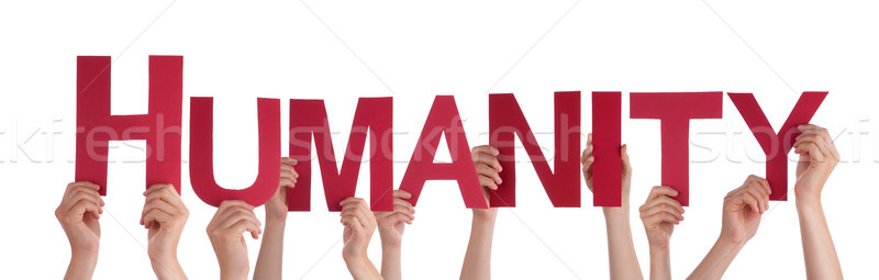 Many People Hands Holding Red Straight Word Humanity  Stock photo © Nelosa