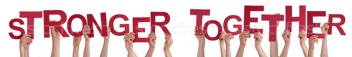 Many People Hands Holding Red Word Stronger Together  Stock photo © Nelosa