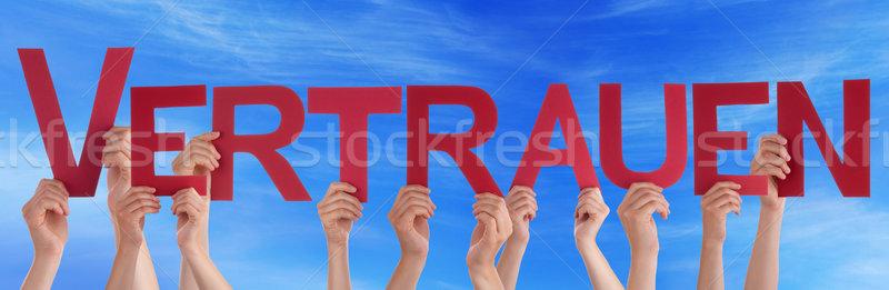 People Straight German Vertrauen Means Trust Sky Stock photo © Nelosa