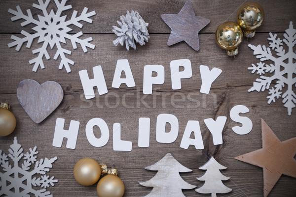 Wooden Background, Happy Holidays,Christmas Decoration, Gray Stock photo © Nelosa