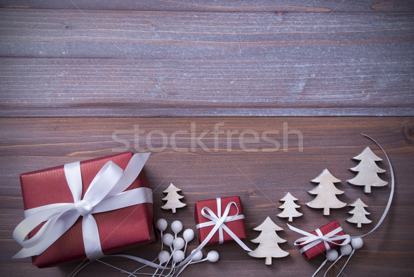 Red Christmas Gifts, Presents, White Ribbon, Trees, Copy Space Stock photo © Nelosa