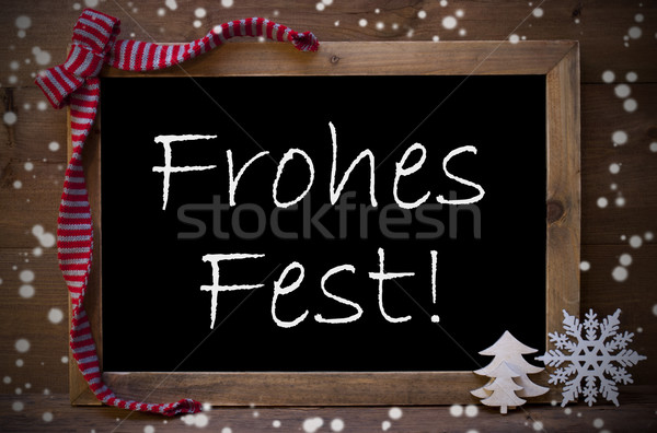 Chalkboard Decoration Frohes Fest Means Christmas, Snowflakes Stock photo © Nelosa