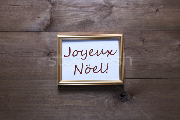 Golden Picture Frame With Joyeux Noel Merry Christmas Stock photo © Nelosa