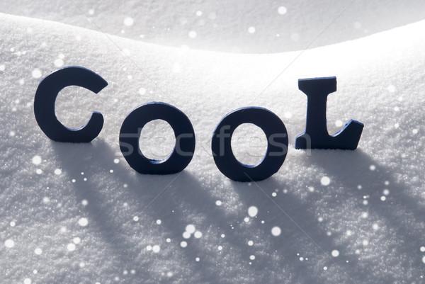 Blue Word Cool On Snow, Snowflakes Stock photo © Nelosa