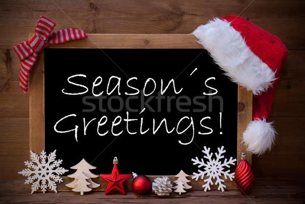 Brown Blackboard Santa Hat Christmas Decoration Seasons Greeting Stock photo © Nelosa