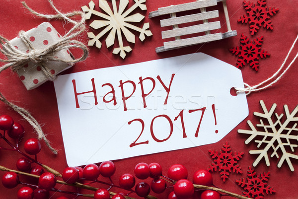 Label WIth Christmas Decoration, Text Happy 2017 Stock photo © Nelosa