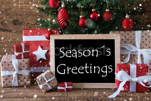 Colorful Christmas Tree With Snowflakes, Text Seasons Greetings Stock photo © Nelosa