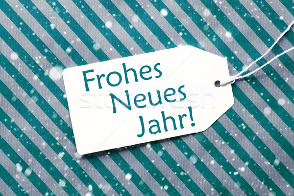 Label On Turquoise Paper, Snowflakes, Neues Jahr Means New Year Stock photo © Nelosa