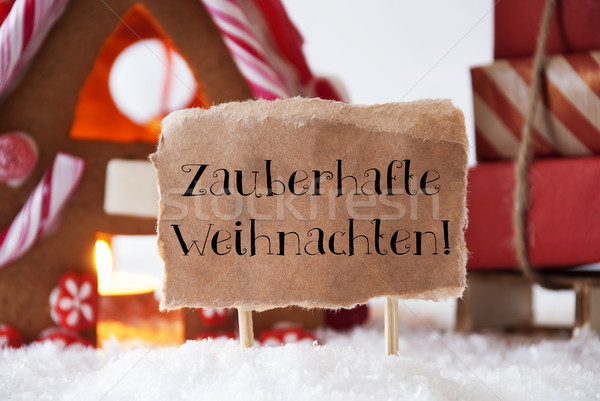 Gingerbread House With Sled, Zauberhafte Weihnachten Means Magic Christmas Stock photo © Nelosa