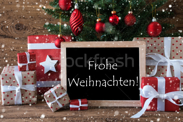Colorful Tree With Snowflakes, Frohe Weihnachten Means Merry Christmas Stock photo © Nelosa