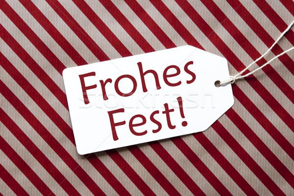 Etiqueta rojo papel de regalo alegre Navidad uno Foto stock © Nelosa