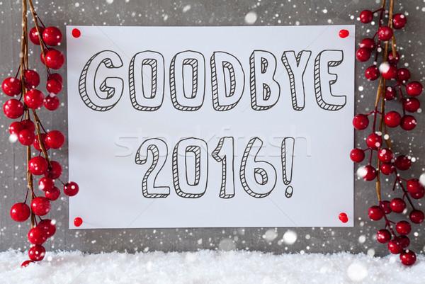 Label sneeuwvlokken christmas decoratie tekst vaarwel Stockfoto © Nelosa
