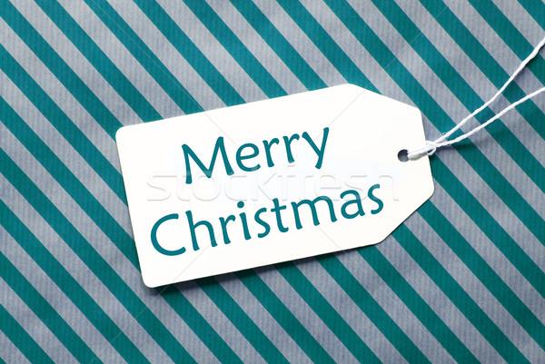 Címke türkiz csomagolópapír szöveg vidám karácsony Stock fotó © Nelosa