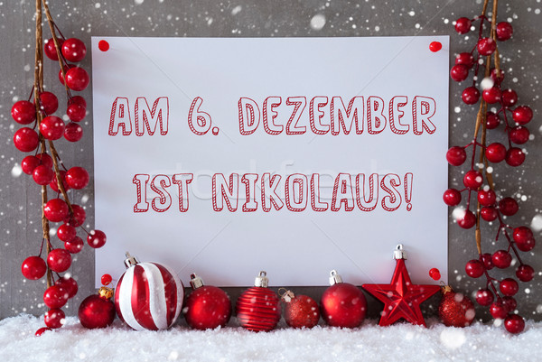 Label, Snowflakes, Christmas Balls, Nikolaus Means Nicholas Day Stock photo © Nelosa