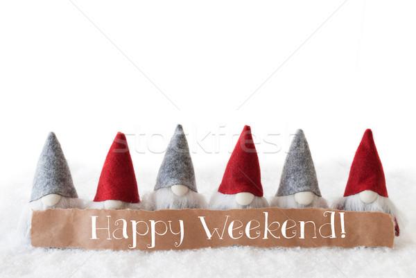 Biały tekst szczęśliwy weekend etykiety angielski Zdjęcia stock © Nelosa