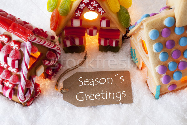 Colorful Gingerbread House, Snow, Text Seasons Greetings Stock photo © Nelosa