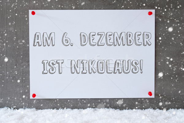 Label On Cement Wall, Snowflakes, Nikolaus Means Nicholas Day Stock photo © Nelosa