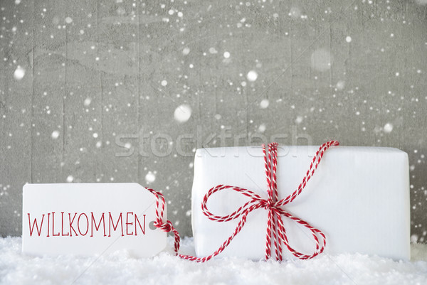 Gift, Cement Background With Snowflakes, Willkommen Means Welcom Stock photo © Nelosa