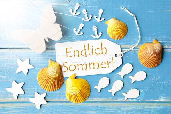 Sunny Greeting Card With Endlich Sommer Means Happy Summer Stock photo © Nelosa