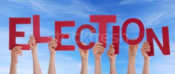 Hands Holding Election in the Sky Stock photo © Nelosa