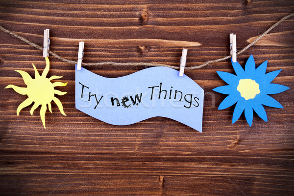 Light Blue Lable Saying Try New Things Stock photo © Nelosa