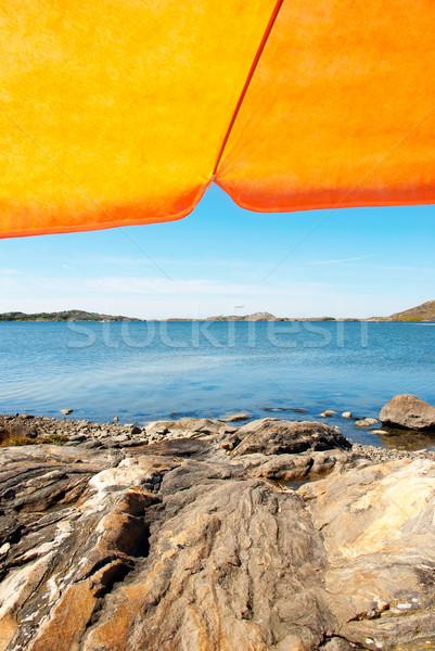 Swedish Coast With Orange Parasol And Blue Ocean Stock photo © Nelosa