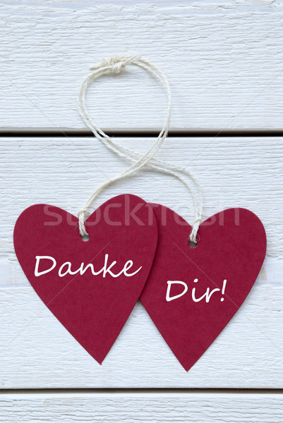 Two Hearts Label German Text Danke Dir Means Thank You Vertical Stock photo © Nelosa