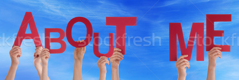 People Hands Holding Red Word About Me Blue Sky Stock photo © Nelosa