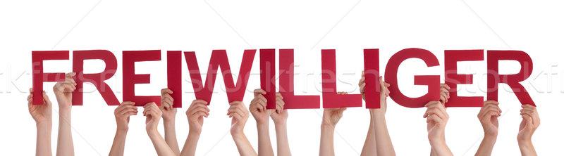 Personas mantener palabra voluntario muchos caucásico Foto stock © Nelosa