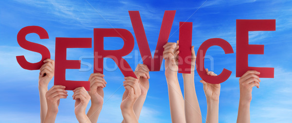 People Hands Holding Red Word Service Blue Sky Stock photo © Nelosa