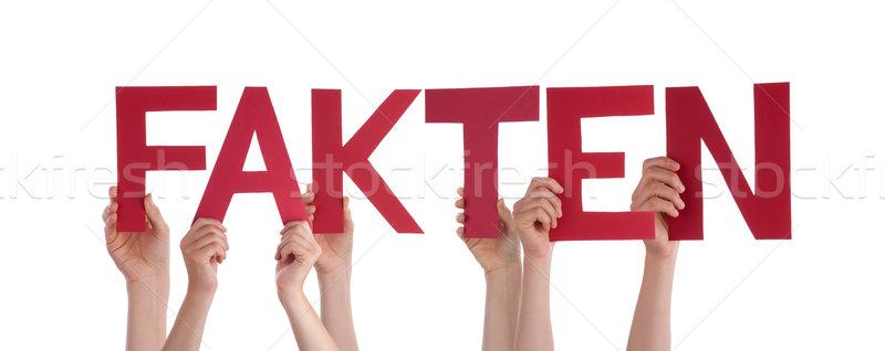 Mensen houden Rood rechtdoor woord feit Stockfoto © Nelosa