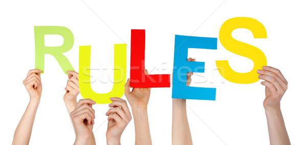 Wiele ludzi ręce kolorowy słowo Zdjęcia stock © Nelosa
