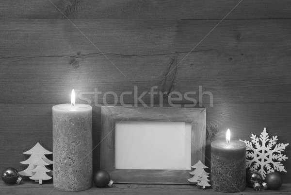 Black And White Christmas Decoration With Candles Picture Frame Stock photo © Nelosa