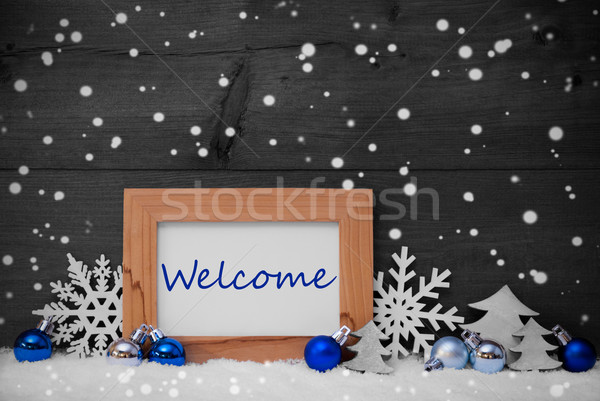 Blauw grijs christmas decoratie sneeuw welkom Stockfoto © Nelosa