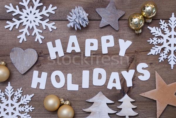 Bois heureux vacances or Noël décoration Photo stock © Nelosa