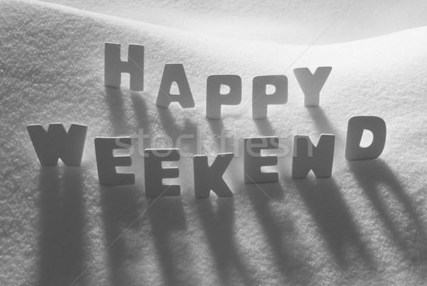 Blanche mot heureux week-end neige lettres Photo stock © Nelosa