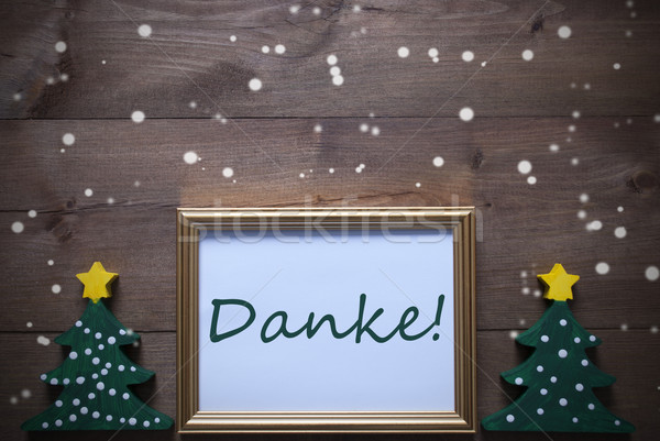Stock photo: Frame With Christmas Tree And Danke Means Thank You, Snowflakes