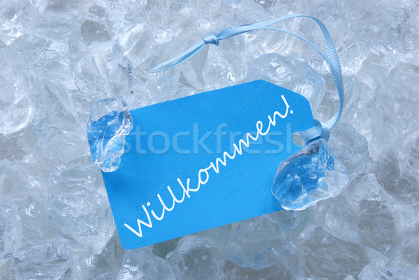 Label On Ice With Willkommen Means Welcome Stock photo © Nelosa