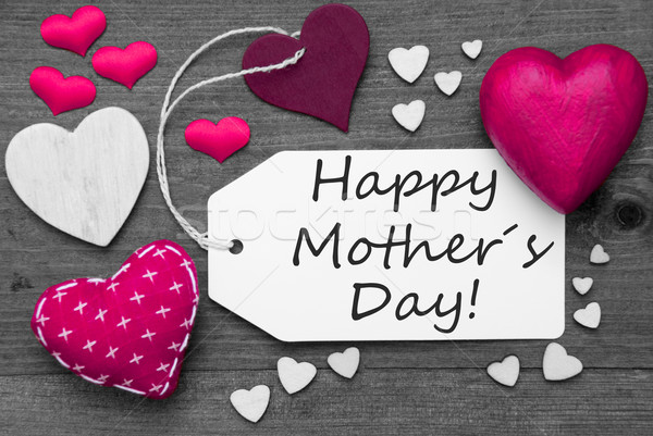 Black And White Label, Pink Hearts, Text Happy Mothers Day Stock photo © Nelosa
