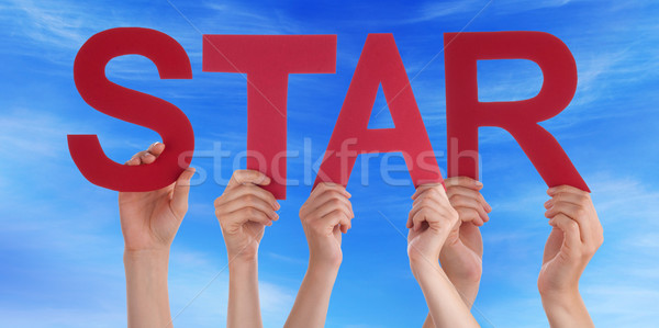 Many People Hands Holding Red Straight Word Star Blue Sky Stock photo © Nelosa
