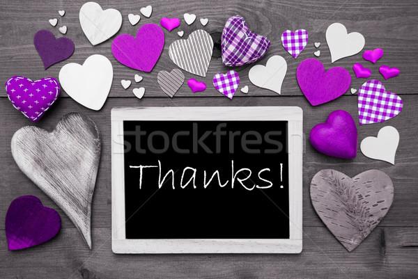 Muchos púrpura corazones gracias pizarra Inglés Foto stock © Nelosa